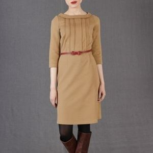 Boden Alexa Pointe Sheath Camel Retro Dress 12